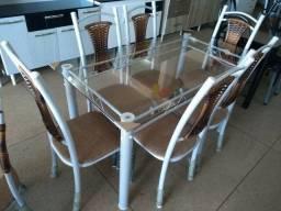 Mesa de vidro 6 cadeiras mega promoção