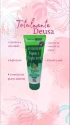 Ma?scara para limpeza facial em gel, Pepino e argila verde.