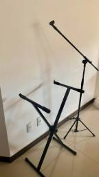 Tripé/mesa x para teclado + pedestal suporte microfone