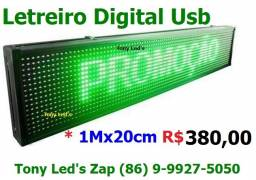 "Letreiro Digital Luminoso Led Branco ""1Mx20"" ""Novo"""