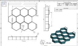 Projeto em PDF de Forma para Piso Sextavado 20x6cm