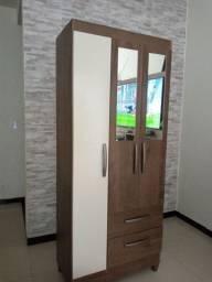 Roupeiro solteirão 3 portas com espelho (entrega grátis)