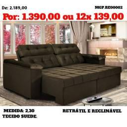 Promoção de Maringa - Sofa de 2.30 Reratil e Reclinavel - Top de Linha
