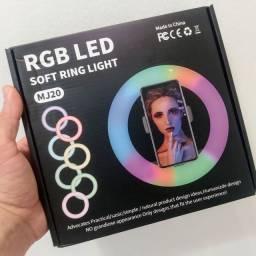 Ring Light  Colorido RGB 20cm + Tripé 1,80m + Entrega Grátis