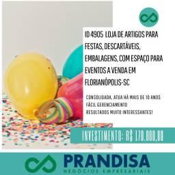 4905 Loja de artigos para festas, descartáveis e embalagens a venda em Florianópolis/SC