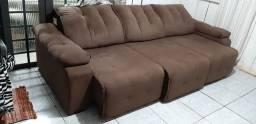 Sofá 3 lugares reclinável retrátil