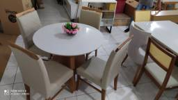 Mesa de jantar jade redonda completa pronta entrega