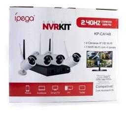Kit 4 Câmera De Segurança S/ Fio Nvr Ipega Dvr Visão Noturna