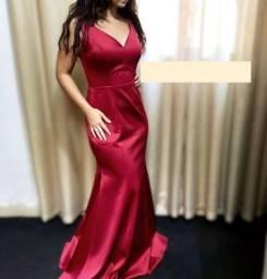 Vestido marsala sereia liso/minimalista
