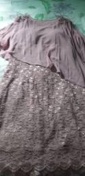 Vestido de festa rosê tamanho G, tecido renda com elastano