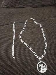 Cordão de prata com pingente São Jorge i pulseira