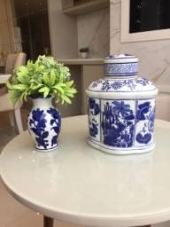 Kit enfeste - cerâmica azul Novos