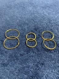 Pares de Brincos Argolas de Ouro 18k/750 - 2,9 cm / 2,6 cm / 2,0 cm