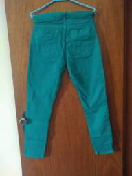 Calça Jeans Cigarrete Verde