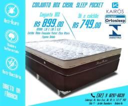 Base + Colchão Sleep 25cm Molas Ensacadas até 10x Sem Juros