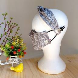 Kit Máscara + tiara nó (máscara dupla face com filtro de fibra siliconada)