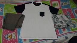 Conjunto, 2 bermudas e 1 camisa