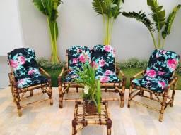 Kit cadeiras de bambu
