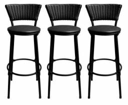 Kit 3 banquetas baixa hawai café - assento preto