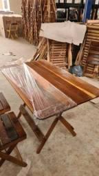 Conjunto de mesas 1.20x72 madeira de ipe