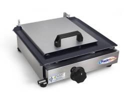 Título do anúncio: Chapa para lanche Inox 30x30cm C/ Prensador -Á Gás * NOVA