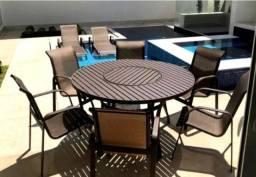 Kit Mesa Giro Ripada 6 Cadeiras Ombrelone Área Externa Verão