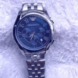 1d21c9706db Relógio Empório Armani aço com fundo azul AAA+