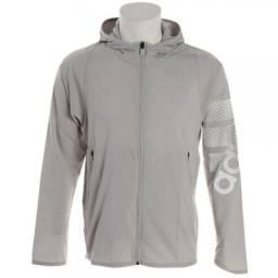 Jaqueta Adidas Corta Vento Com Capuz Logo Hoodie Cinza Nova e Original. (Tamanho: M)