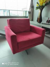 Cadeira apoio aveludada