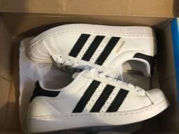 Tênis adidas superstar branco/preto original