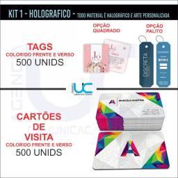 500 cartões holograficos + 500 Tags/mini cartoes todos colorido frente e verso - R$ 268,00
