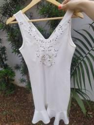 Vestido branco novo bordado