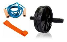 Kit Treino (corda De Pular + Mini Band + Roda Abdominal)
