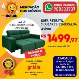 Sofá Retrátil Reclinável 3 Lugares Esmeralda Novo Super Barato!!!