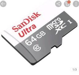 Cartão de Memoria 64gb Sandisk Micro Sd Ultra  Classe 10 100mbs Original Lacrado