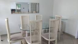 Mesa de vidro bisotado base mármore c/ 6 cadeiras + Espelho + Aparador