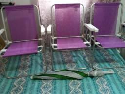 3 TREs Cadeira de aluminio Roxa mor uma posição altura baixa + guarda sol