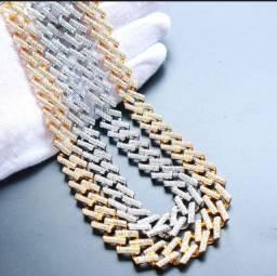 Colar Luxury Diamante Miami Curb Cubanas Para Homens Gelado Fora Pavimentado Bling CZ