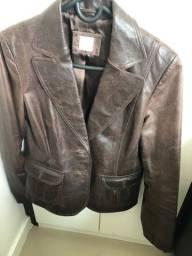 Casaco jaqueta  couro marrom n 40 feminino