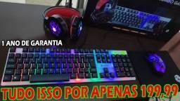 Super Kit Gamer RGB Muito Barato! Teclado+Mouse+Headset+Mousepad!