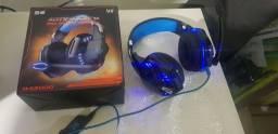 Fone Gamer Led azul-Novo