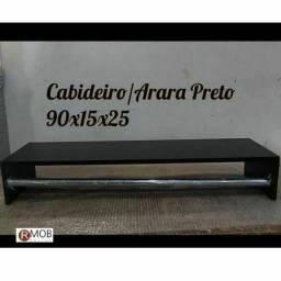 Cabideiro Arara Prateleira Parede Preto 90cm 100% MDF Montado - RMOB
