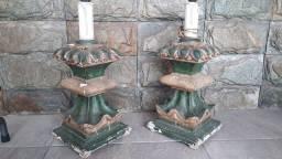 Par de luminárias de gesso antigas japonesas