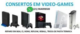 Reparo e conserto em Vídeo Games Ps3, Ps4, Xbox 360, ONE, Wii preço justo