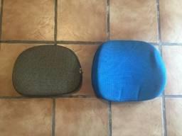 2x Encostos Azul + Cinza Cadeira Giratória Escritório + Peças Montagem Impecáveis Barbada