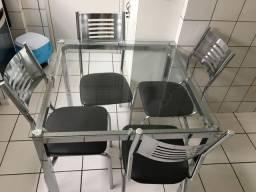 Mesa vidro com 4 cadeira inox