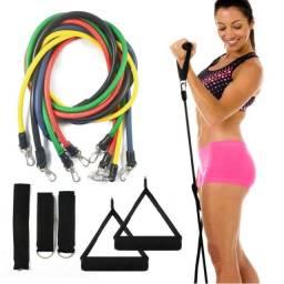 Kit Tubing Elasticos Musculação 11 Peças Funcional Pilates