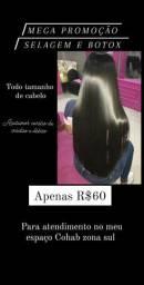 Promoção selagem e Botox apenas R$60