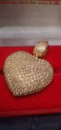 Pingente coração 100 diamantes