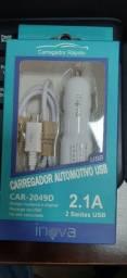 Carregador Veicular V8 Micro Usb Inova 2.1a NOVO